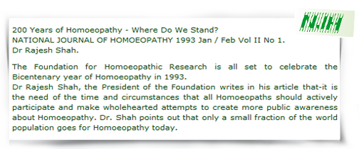 An article published in homeopathic journal