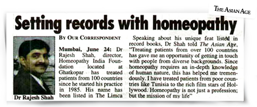 An article about Dr Shah in Asian Age