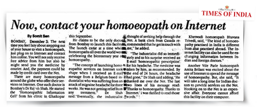 An article contact homeopath on internet in Times of India