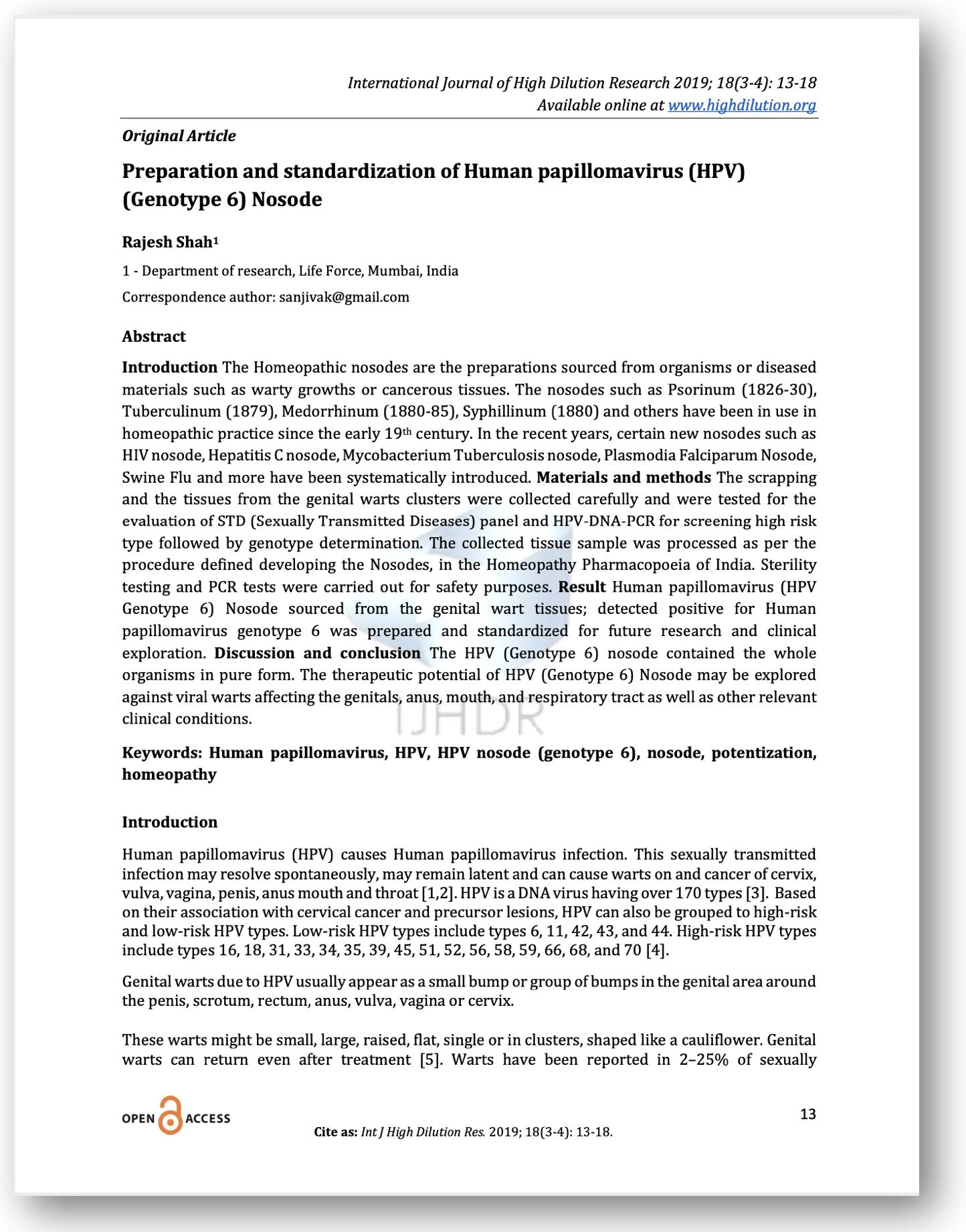Humán papillomavírus nosode, A HPV (humán papillomavírus) fertőzés tünetei, kezelése